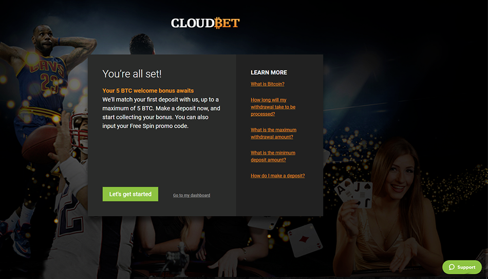 cloudbet account sign up welcome offer